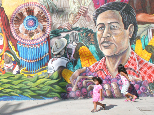 """México-Tenochitlán—The Wall That Talks,"" is located at Avenue 61 and Figueroa, across from La Estrella Restaurant in Highland Park. Muralists want to secure private and public funding to keep murals in pristine condition. (EGP Photo by Gloria Angelina Castillo)"