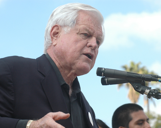 Senator Ted Kennedy speaking in February 2008 at East Los Angeles College at a rally in support of then presidential candidate Barack Obama. (EGP Photo by Mario Villegas)