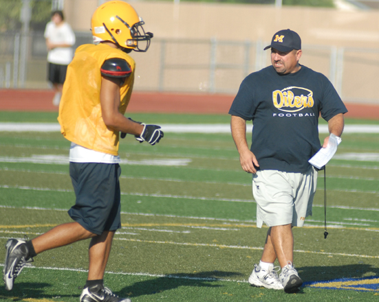New Montebello High School football Coach Pete Gonzalez and his staff are working to have the Oilers ready for their Sept. 4 season opener at Bellflower. (EGP photo by Mario Villegas)
