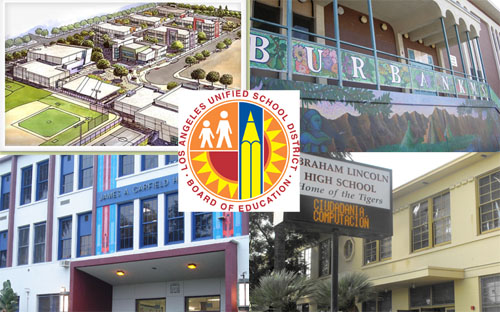 Clockwise from top  left: Esteban Torres High School (rendering), Luther Burbank Middle School, James A. Garfield High School, and Abraham Lincoln High School