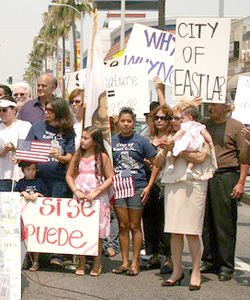 East Los Angeles residents kick-off petitan gathering campaign at July 4th, 2008 rally. (EGP Archives)