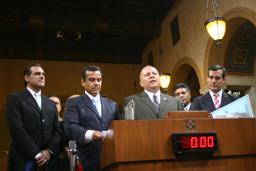 L.A. Councilmember Ed Reyes, center, will be leaving his office after representing the first district for 12 years. (EGP Photo Archive 2009)