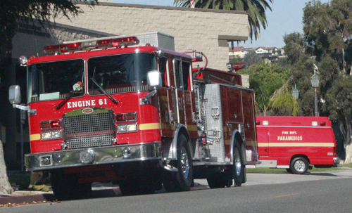 A fire engine and paramedic ambulance is stationed in the city-run Fire Department station, next to Monterey Park's City Hall. (EGP photo by Nancy Martinez)