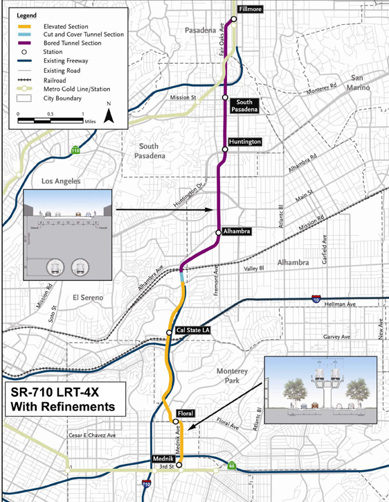 One of alternatives to address the 710 Freeway gap is a light rail that would travel both underground and above traffic.