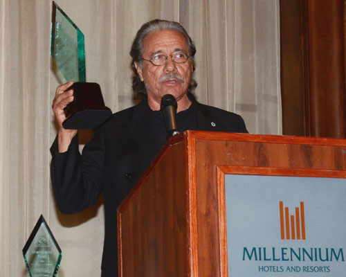 Actor and director Edward James Olmos expresses his thoughts after receiving the first Variety Boys and Girls Club Edward James Olmos Alumni Award during the Club's inaugural Gala Aug. 15 at the Millennium Biltmore Hotel in downtown Los Angeles. (Photo by Mario Villegas)