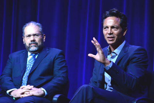 "Benjamin Bratt, right, who narrates the PBS documentary ""Latino Americans,"" at a Television Critics Association Summer Press Tour session in Los Angeles last month discussing the history of Latinos in the U.S. (Photo courtesy of PBS)"