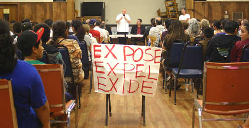 About 100 people attended the meeting on Monday night in Boyle Heights, which focused on shutting down the local Exide plant in Vernon. (EGP photo by Gloria Angelina Castillo)