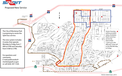 This map shows the four proposed routes for the Spirit Buses in Monterey Park. (City of Monterey Park)