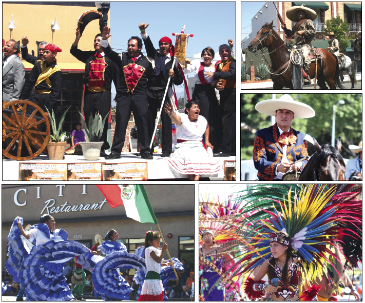 (Pictured clockwise) 1.Riding on a parade float, actors reenacted the cry for battle that initiated the Mexican war for independence. 2.Several groups of horsemen rode down E. Cesar E. Chavez Avenue including men dressed in Mexican civil war costumes. 3.Los Angeles Councilman Jose Huizar dressed as a charro. 4.Aztec dancers presented the pre-Hispanic indigenous culture of Mexico in the parade. 5.Local students and dancers held their heads high performing for the crowds gathered for the only annual parade in East L.A. (EGP photos by Gloria Angelina Castillo and Fred Zermeno)