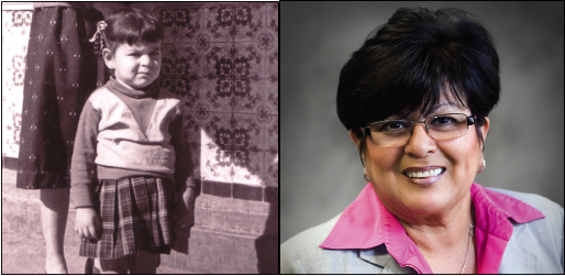 Luz Martinez as a child in Juarez, Mexico (left) immigrated to the U.S. at a young age and eventually became Vernon's first Latina councilmember (right) in 2012. (Photos courtesy of Luz Martinez)