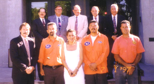 Luz Martinez, front middle, was honored for her many years as a city employee, by the Vernon's city council in 1997 before she became a councilmember herself in 2012. (Cortesy of Luz Martinez)
