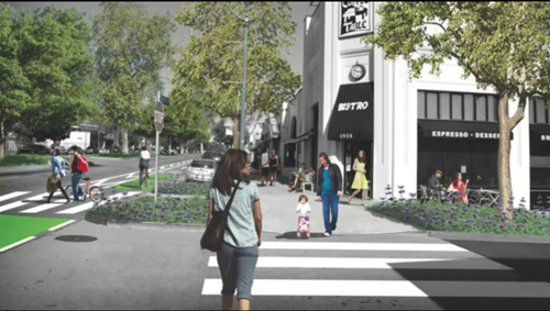 "This rendering shows new landscaping, green bike lanes and enhanced ""zebra"" cross walk markings at the corner of Shearin Avenue and Colorado Boulevard. (Colorado Blvd Vision Plan)"