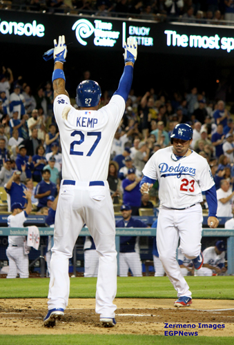 Matt Kemp and Adrian Gonzalez (pictured) last Friday score on a double by catcher A.J. Ellis. (EGP photo by Fred Zermeno)