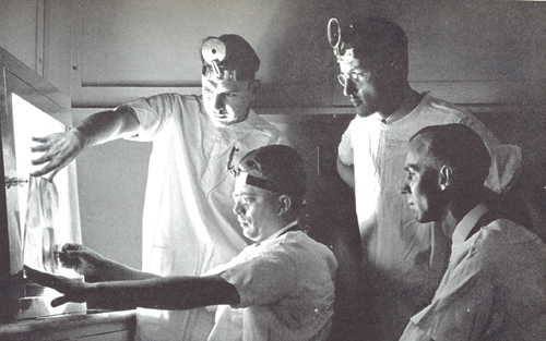 White Memorial Medical Hospital is celebrating their centennial anniversary this year. Pictured, an archived photograph from the 1940s depicting doctors examining an x-ray at the then-clinic.  (Photo courtesy of White Memorial Medical Center)