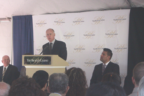Gov. Jerry Brown, pictured, joined local leaders in Bell Gardns Tuesday to launch The Bicycle Casino's hotel project. (EGP photo by Nancy Martinez)