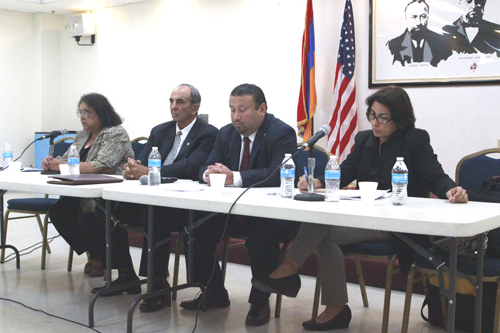 (Left to Right): Ana Ariolla, Mayor Pro Tem William M. Molinari, Councilman Art Barajas and Vivian Romero participated in a candidate forum on Sept. 26 at the Armenian Center in Montebello. (EGP photo by Nancy Martinez)
