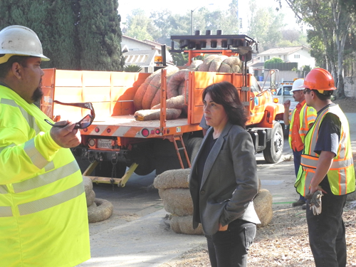 Caltrans workers met with Councilmember elect Vivian Romero, pictured center, and other Montebello officials last month to discuess Caltran-related issues along the 60 Freeway. (Photo courtesy of Vivian Romero)