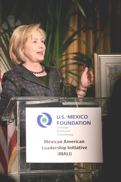 Former Secretary of State Hillary Clinton's visit to California last week included a stop at USC where she received an award from the U.S.-Mexico Foundation. (Photos by Hector Cruz Sandoval)