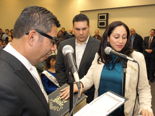 Bell Gardens Mayor Pro Tem Priscilla Flores, right, was sworn in Dec. 5. (City of Bell Gardens)