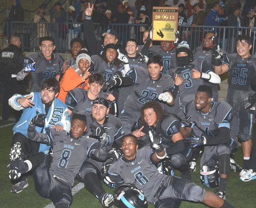 Salesian High School's football team, pictured, beat out Mission Prep from San Louis Obispo during the CIF Southern Section Northeast football championship game saturday.  (EGP photo by MarioVillegas)