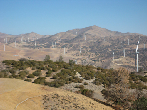 "Windmills cover the land adjacent to the Vernon-owned ""Fee Lands"", pictured, in Kern County. (Photo courtesy of Fred MacFarlane)"