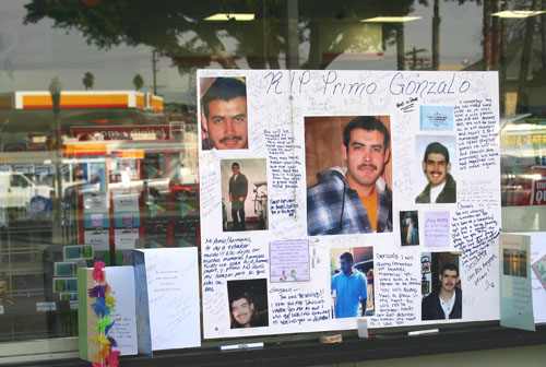 A small altar in memory of Gonzalo Garcia Perez was created outside the 7-Eleven store in Highland Park. (EGP photo by Jacqueline Garcia)