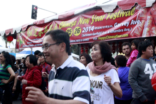 1. Monterey Park festivities included large numbers of people dancing to usher in Chinese New Year. (EGP photo by Nancy Martinez)