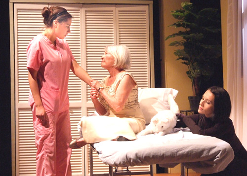 "(Left to right): Alex Ximenez (Catalina Rodriguez), Susan Davis (Kitty Randolph) and Beatriz Eugenia Vasquez (Mercy The Cat) in CASA 0101Theater's World Premiere Production of  ""A Cat Named Mercy""  (Photo by Ed Krieger)"