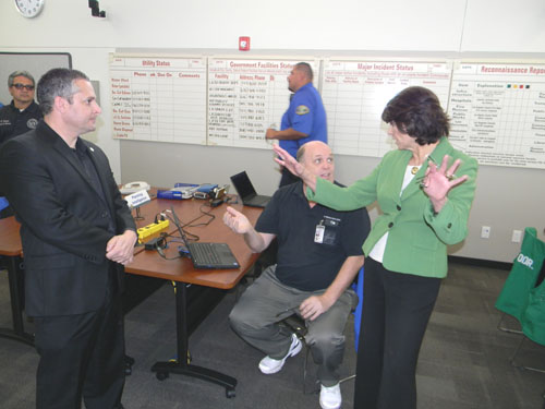 Congresswoman Roybal-Allard, left, tours Commerce's new Emergency Operations Center. (Office of US Rep. Lucille  Roybal-Allard)