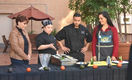 Tu Mundo Hoy host Ofelia De La Torre, White Memorial Chefs Veronica Rodriguez and Raymond Cash III and Veroinca Nichols of Tu Mundo Hoy during a cooking segment at the White Memorial. (White Memorial Medical Center)