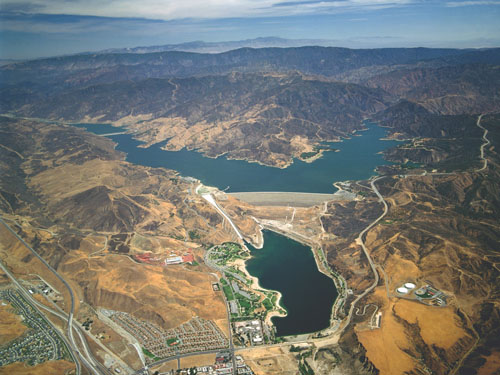 "Lake Castaic, pictured, is one of the many resevoirs throughout the state experiencing low levels of water after a third ""dry"" season. (California Department of Water Resources)"