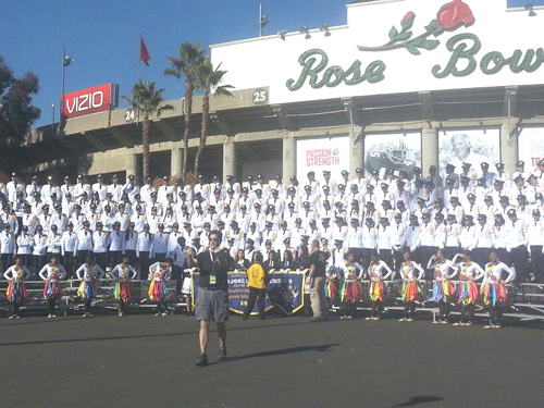 Music band Herberto Lopez JDC in front of the Rose Bowl in Pasadena. (Photo courtesy of Viva Panama/Herberto Lopez JDC)