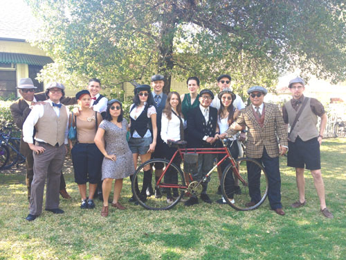 Cyclists of all ages, dressed in clothes reminiscent of a time now gone, took part last weekend in a bike ride to explore the history of the Arroyo Seco. (EGP photo by Jacqueline Garcia)