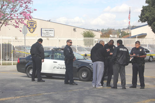 Fremont Elementary in Montebello was on lock down after Montebello Police investigated a  shooting. (EGP photo by Nancy Martinez)