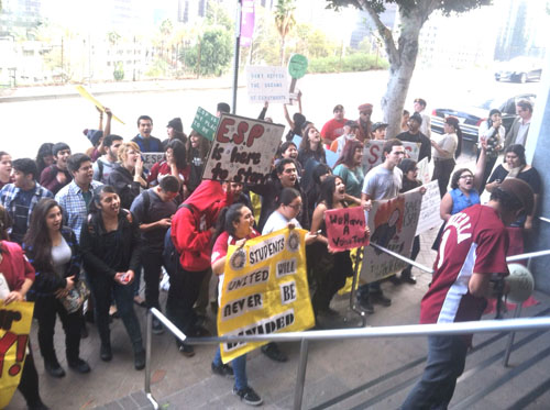 Students, parents and advocates protest in front  of LAUSD headquarters to keep the doors of their Boyle Heights school open. (Photo courtesy of Ana Rentería)