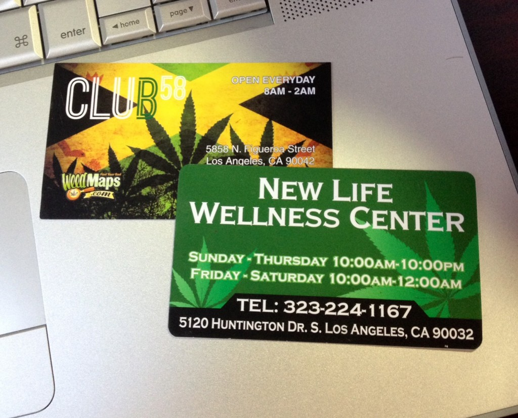 Business cards of newest marijuana dispensaries in Highland Park and El Sereno, pictured, show that they are operating outside legal time restrictions. (EGP photo by Jacqueline Garcia)
