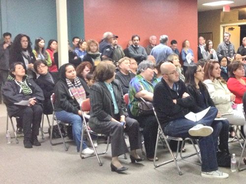 About 145 people attended the meeting to oppose to a marijuana dispensary in their neighborhood. (EGP photo by Jacqueline Garcia)