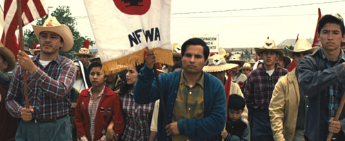 Cesar Chavez, a movie directed by Diego Luna about the life of labor leader and UFW founder Cesar Chavez opens this weekend. Actor Michael Peña (center) plays Chavez, pictured. (Photo courtesy of LPN News)