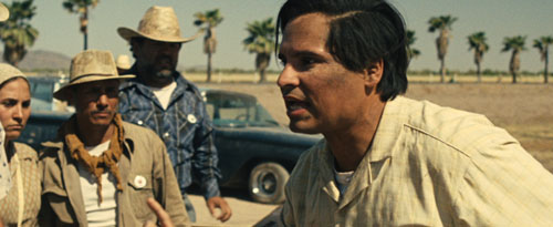 Actor Michael Peña (right) in the movie Cesar Chavez, directed by Diego Luna about the life of labor leader and UFW founder. The film opens this weekend. (Courtesy of LPN News)