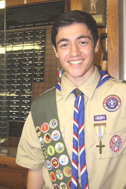 Montebello boy scout Alek Sanchez, pictured, earns Eagle Scout status. He is the 85th scout to reach the high ranking in Troop 330's history.  (EGP photo by Nancy Martinez)