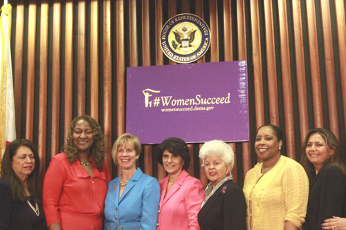 Elected officials and education leaders discussed the economic agenda for Women in Commerce last week. (Left to right): Renée D. Martinez, Sen. Holly Mitchell, Congresswoman Janice Hahn, Congresswoman Lucille Roybal-Allard, Congresswoman Grace F. Napolitano, Kimberly Freeman and Patricia Castellanos.  (EGP photo by Nancy Martinez)