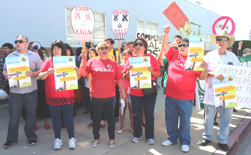 With embattled Exide as their backdrop, protesters on Monday called on state legislators to get tough with polluters and to protect the public. (EGP photo by Fred Zermeno)