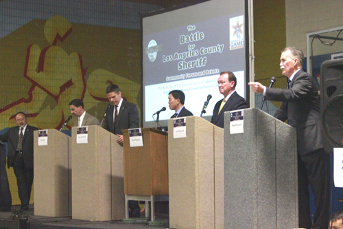 (Left to right):L.A. County Sheriff candidates Todd Rogers, James Hellmold, Paul Tanaka, Jim McDonnell and Bob Olmsted. (EGP photo by Nancy Martinez)