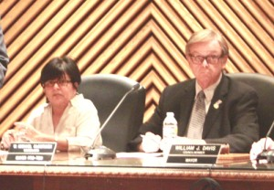 Luz Martinez, pictured left, during a 2013 Vernon city council. (EGP Archive)