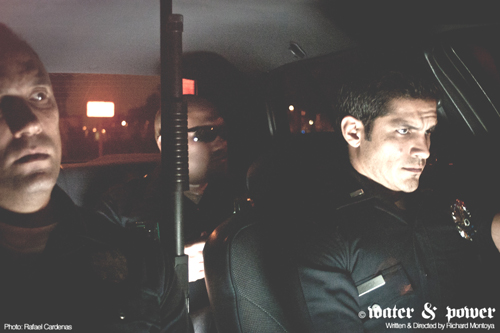 "Nicholas Gonzalez, right, stars as Power a top cop in the ranks of the Los Angeles Police Department in the film ""Water & Power."" (Photo by Rafael Cardenas)"