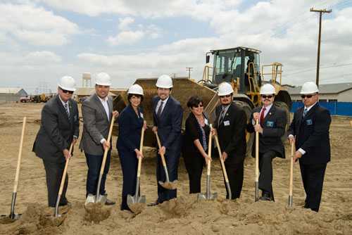 "(Left to right) Vernon Mayor W. Michael McCormick, Sen, Ricardo Lara, Congresswoman Lucille Roybal-Allard, Sen. Kevin De Leon, Councilmember Luz A. Martinez, Mayor Pro Tem William ""Bill"" Davis, Councilmember Richard Maisano and Councilmember Michael A. Ybarra break ground on the Vernon Housing project located near the border of Maywood.  (Photo by Leroy Hamilton/ City of Vernon)"