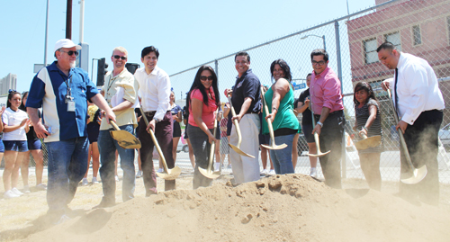 Breaking ground on the future park at York Boulevard and Avenue 50. Left to right: Craig Raines, Landscape Architect for York Park, Mike Shull, GM, Dept. of Recreation & Parks State Senator Kevin De Leon, Dist. 22, Monica Alcaraz, President, Historic HPNC, Councilmember Jose Huizar, Yolanda Nogueira, Highland Park Chamber of Commerce, Assemblymember Jimmy Gomez, Dist. 51, Noelani Raynoso, Carlos Rosales, Wells Fargo Bank. (Photo courtesy of office of Councilman Jose Huizar)