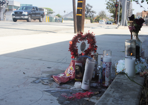 A memorial at the site of Montebello's only homicide this year. (EGP photo by Nancy Martinez)
