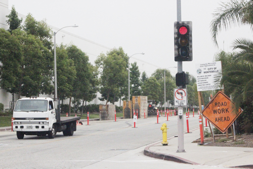 Street improvements begin on Flotilla Avenue near the Montebello-Commerce Metrolink station. (EGP photo by Nancy Martinez)