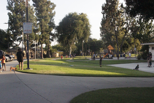 Children play at Veterans Park in Bell Gardens on Monday. (EGP photo by Nancy Martinez)